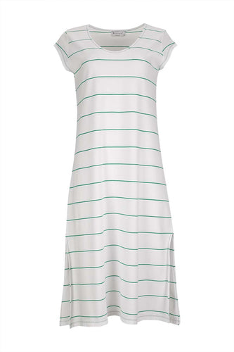 striped short sleeve long dress