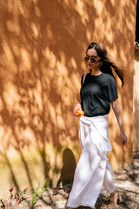 wide culotte trousers with ribbon