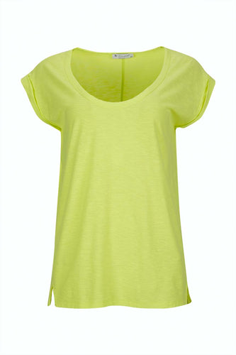 T-shirt with round neck, sleeveless and split on both sides