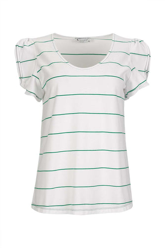 Striped piquet t-shirt with Egg neck and shoulder double ruffle