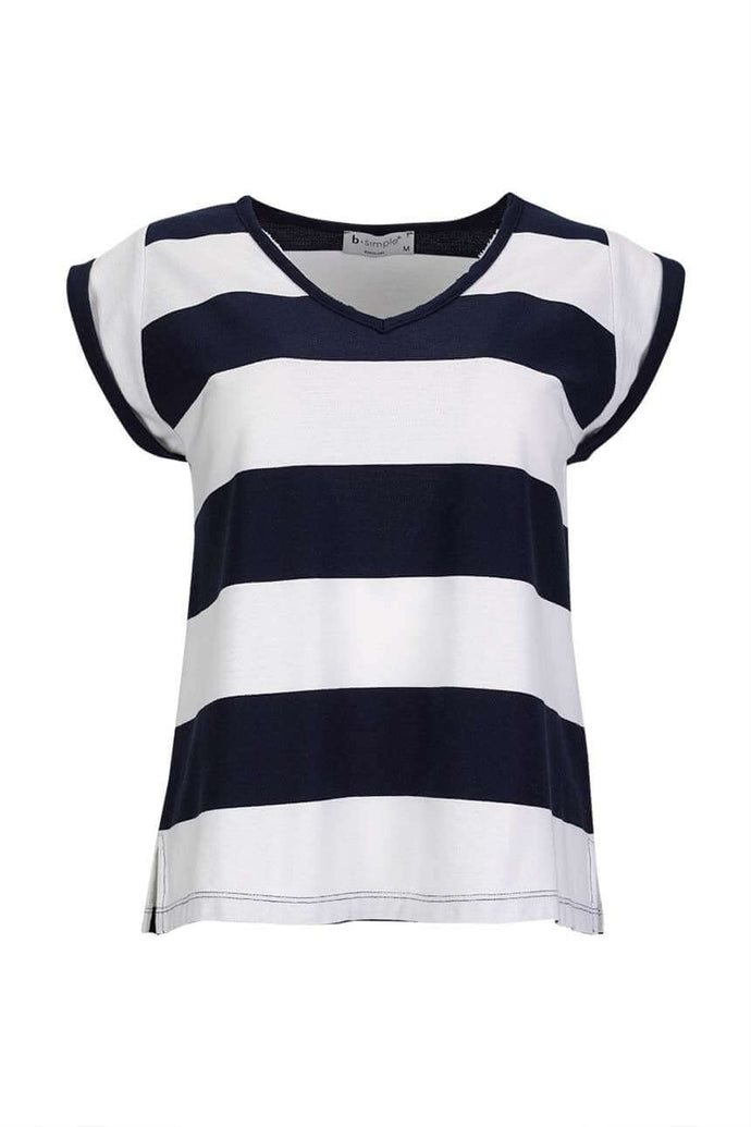 Short sleeve V neck piquet T-shirt with large stripes