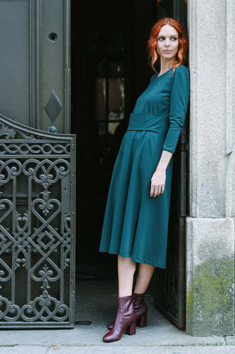 Front Belted Midi Dress