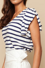 Striped t-shirt with Egg neck and shoulder double ruffle