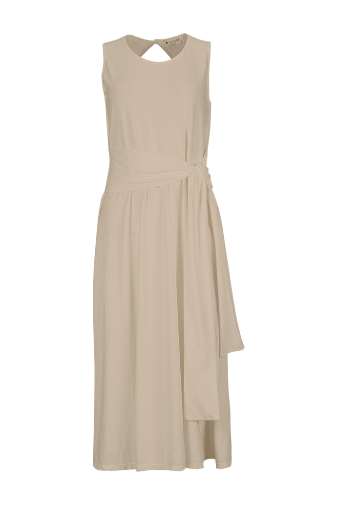 sleeveless belted midi dress