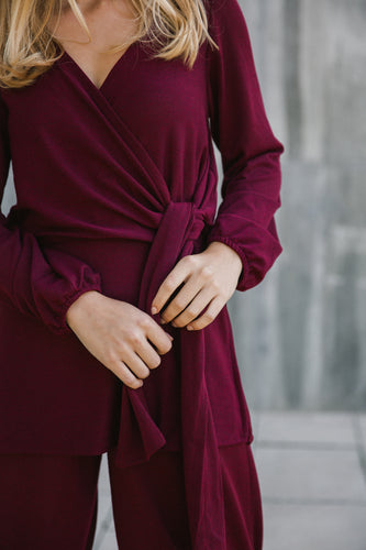 wrap jumper bordeaux
