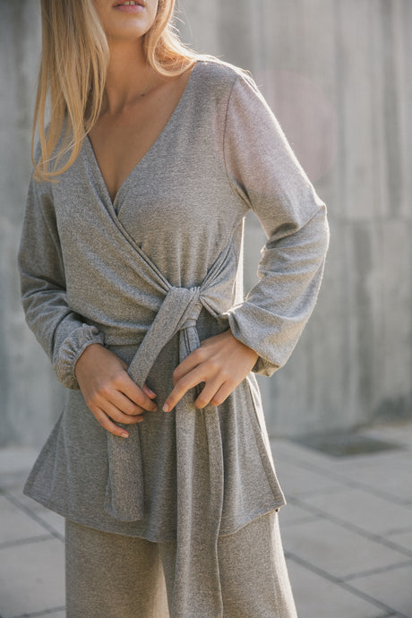 wrap jumper gray