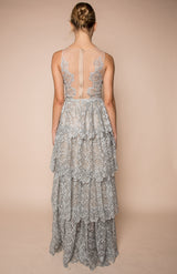 Silver metallic laced embellished dress