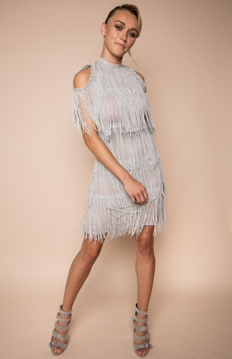 Silver grey fringe multi-layered dress
