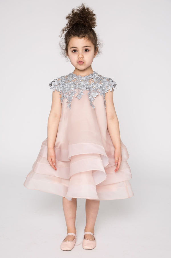 Lace and multi layer organza dress