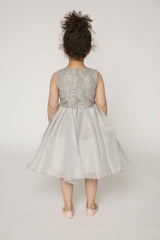 Embellished organza high low dress