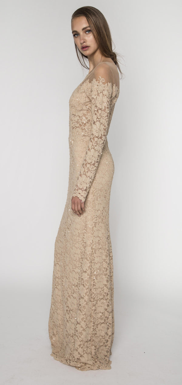 Embellished Champagne lace off shoulder gown