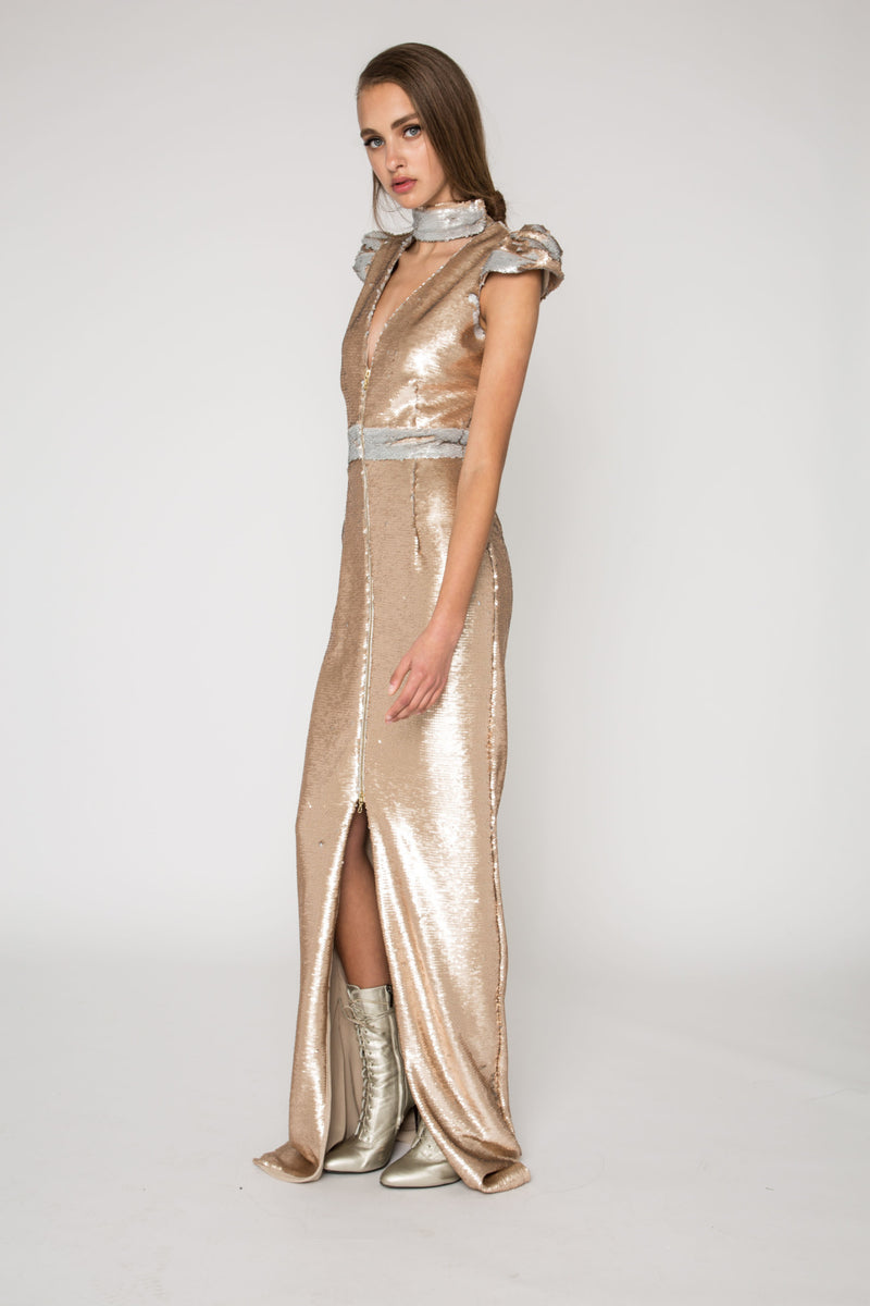 Champagne reversible sequin gown