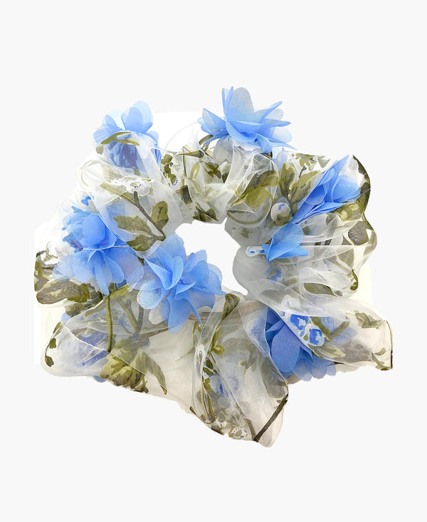 3D Blue Floral Organza Ultra Scrunchie
