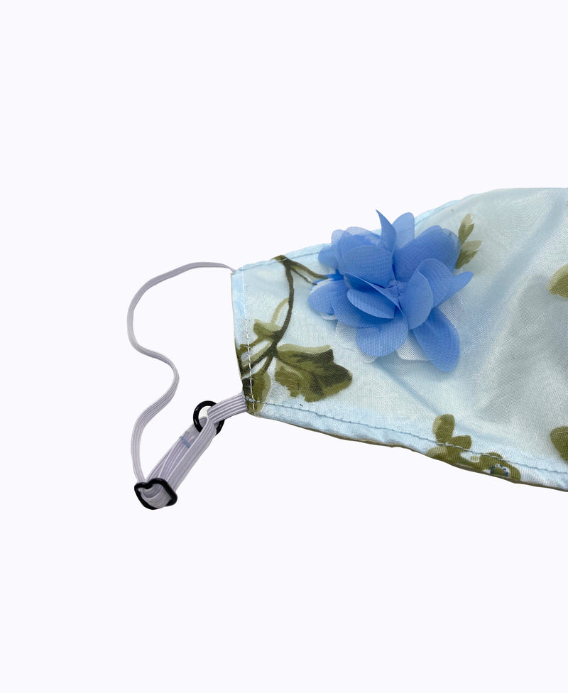 Adjustable Blue 3D Floral Lightweight Organza Mask