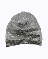 Silver Sequin Silk Knot Turban Hat