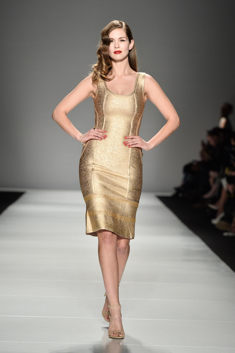 Gold metallic Stretch-Knit dress