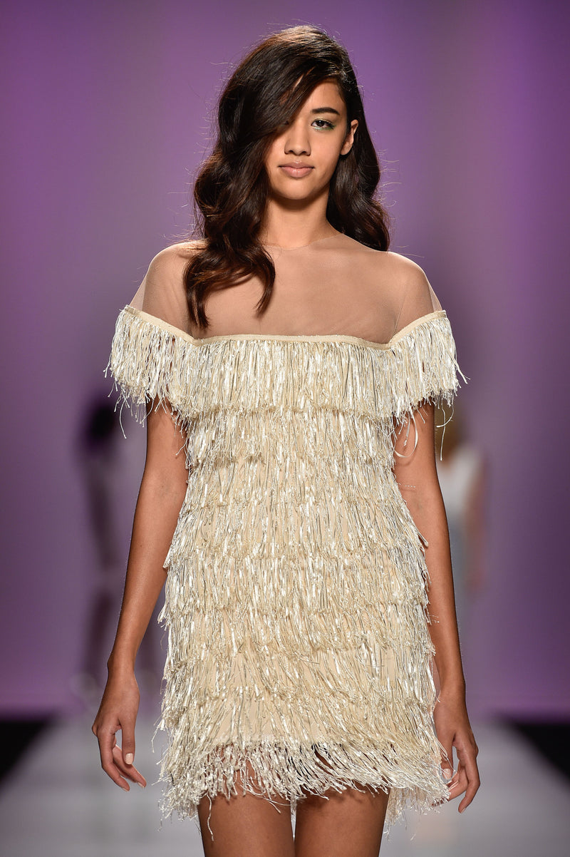 Fitted fringe cocktail dress