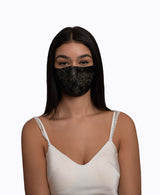 Adjustable Black Lace Encased Super Lightweight Organza Mask