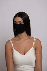 Adjustable Black Lightweight Taffeta Mask
