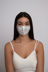 Adjustable Off White Jacquard Satin Mask