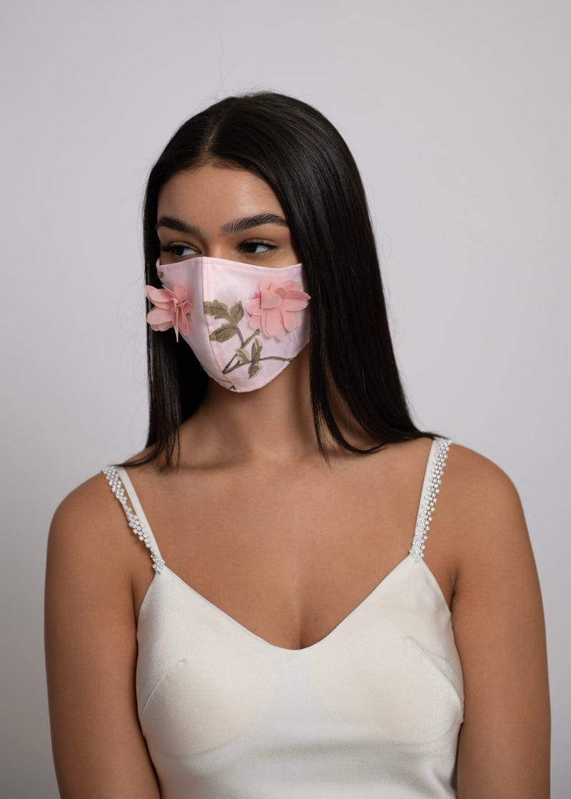 Adjustable Pink 3D Floral Lightweight Organza Mask