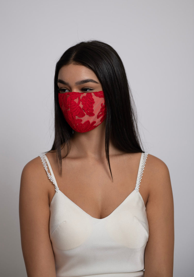 Adjustable Red Lace Mask