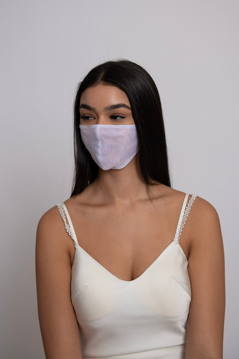 Adjustable White Organza Super Lightweight Mask