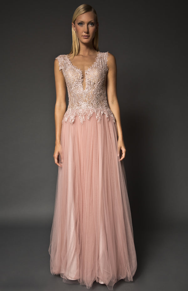 Embellished deep V lace bodice gown