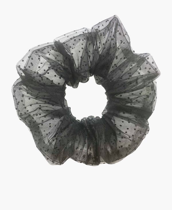Black Polka Dot Black Tulle Ultra Scrunchie