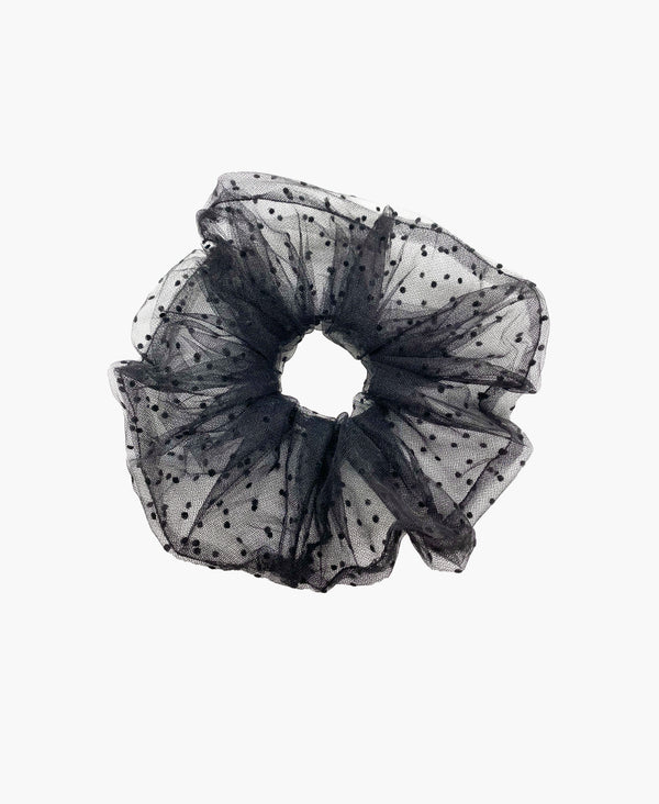 Black Polka Dot Black Tulle Super Scrunchie