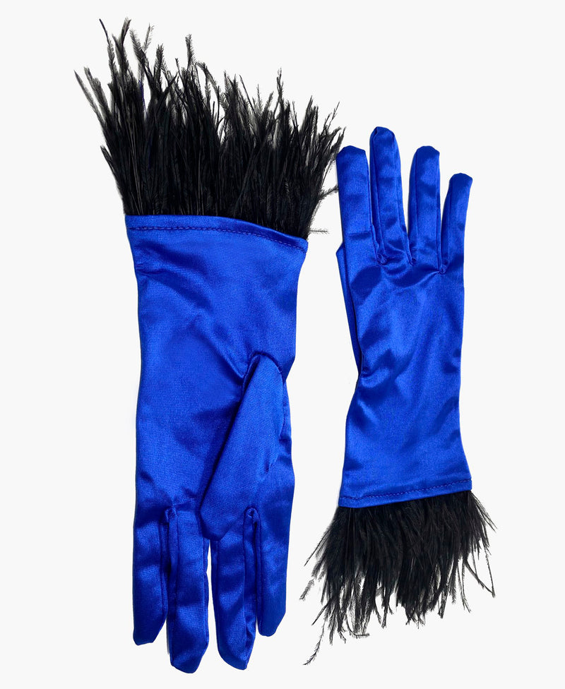 Ostrich Feather Cobalt Satin Gloves