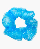 White Polka Dot Blue Tulle Ultra Scrunchie