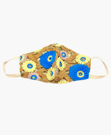 Blue Lemon Crochet Lace on Gold Lamé Mask