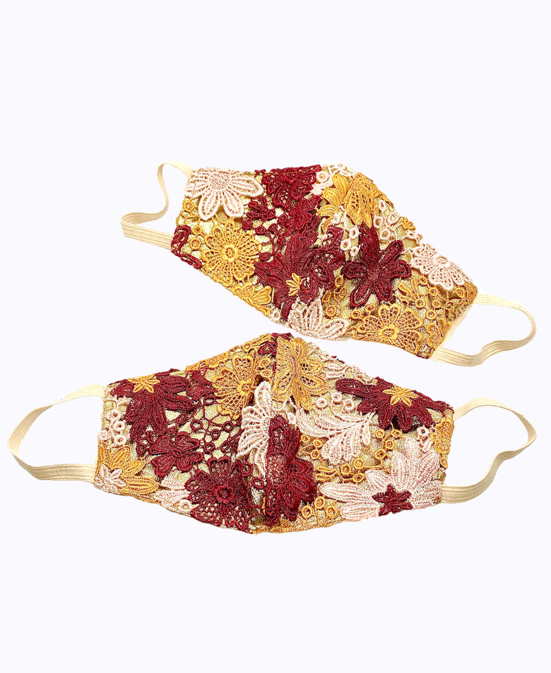 Burgundy Blush Crochet Lace on Gold Lamé Mask