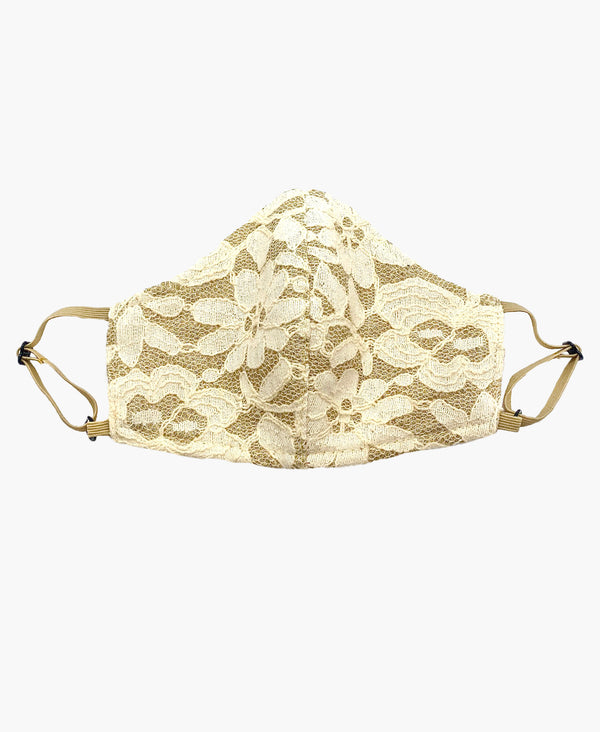 Kids Adjustable Ivory Lace Mask