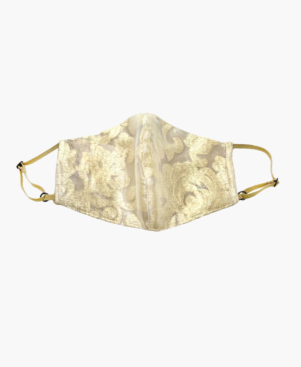 Adjustable Gold Lace Organza Mask