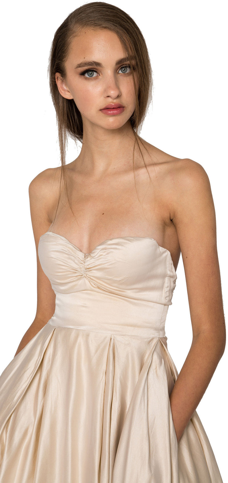 Strapless silk satin midi dress