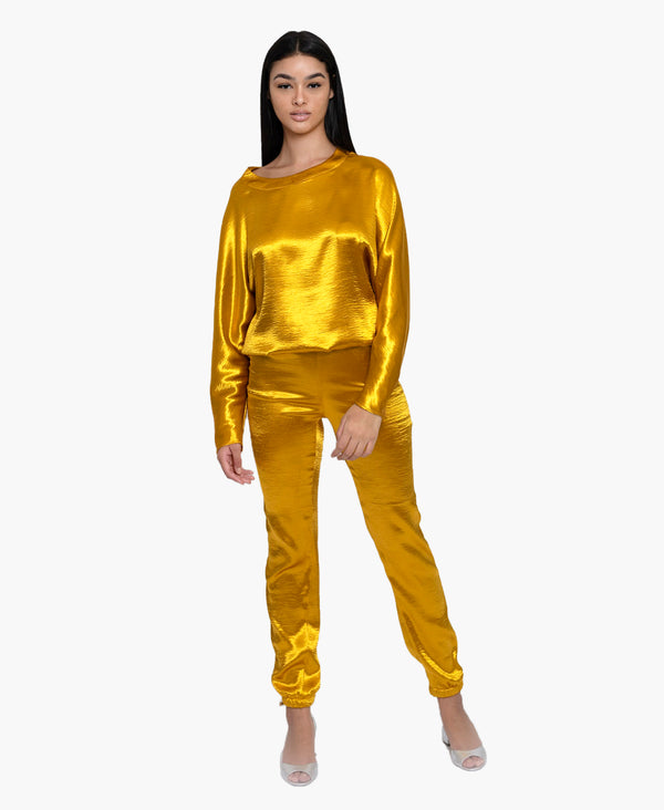 Gold Textured Satin Set
