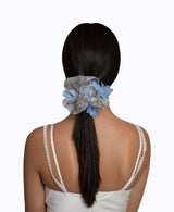 3D Blue Floral Organza Super Scrunchie