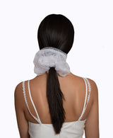 White Polka Dot White Tulle Ultra Scrunchie