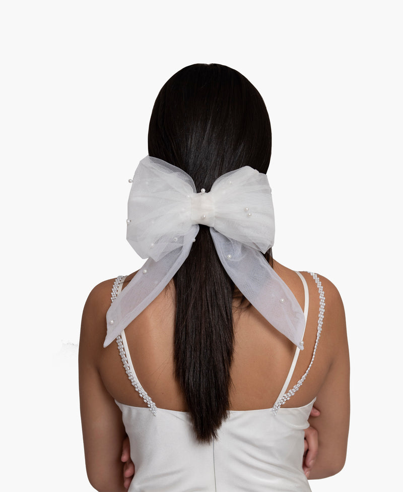 Pearl Embellished Mesh Bow Hair Clip