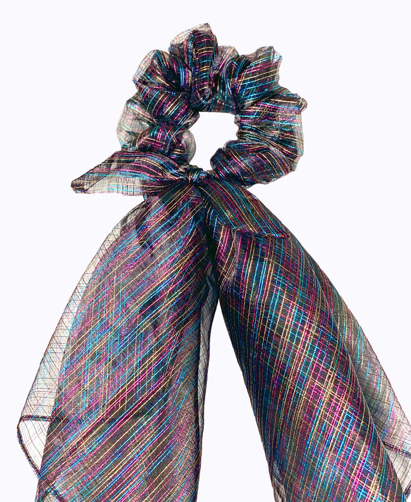 Multicolour Metallic Stripe Scarf Scrunchie