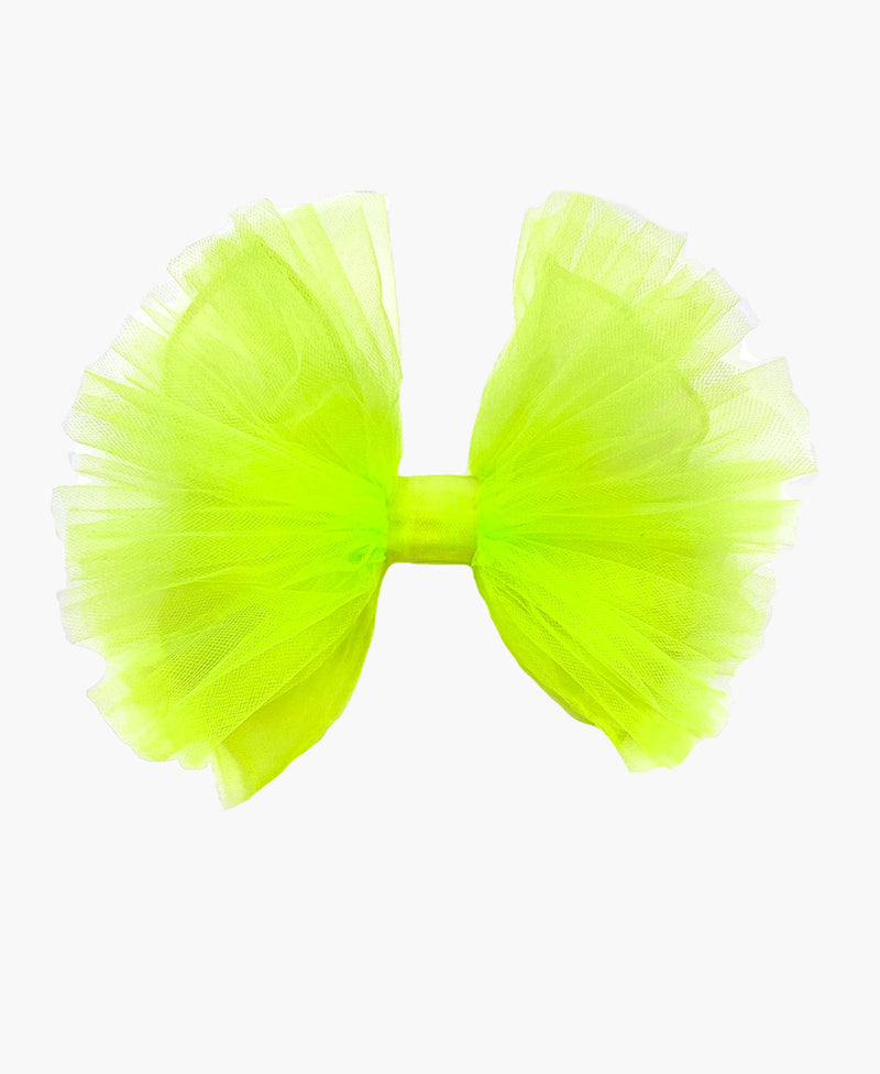 Ruffled Neon Tulle Bow Hair Clip