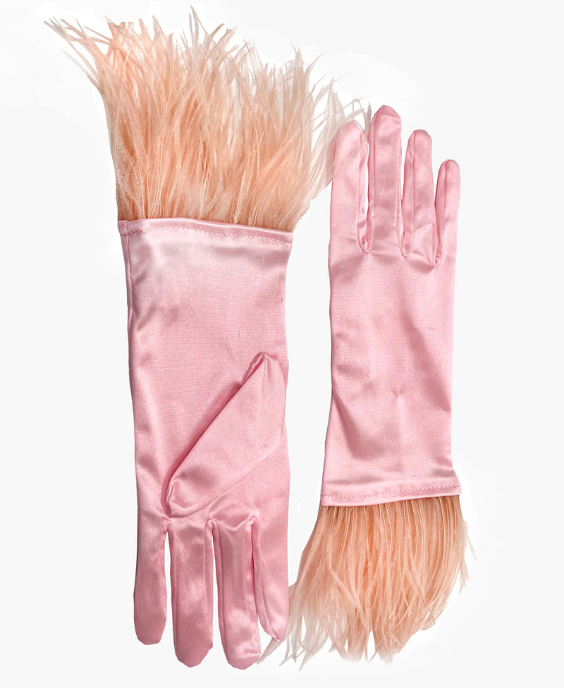Ostrich Feather Rose Pink Satin Gloves