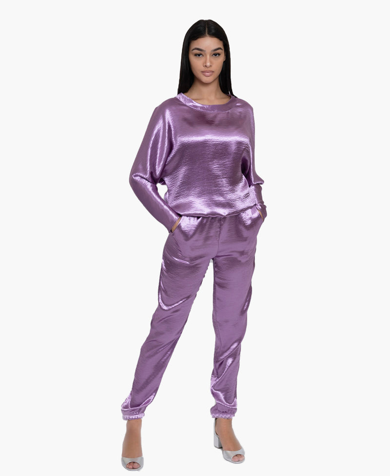 Purple Textured Satin Set