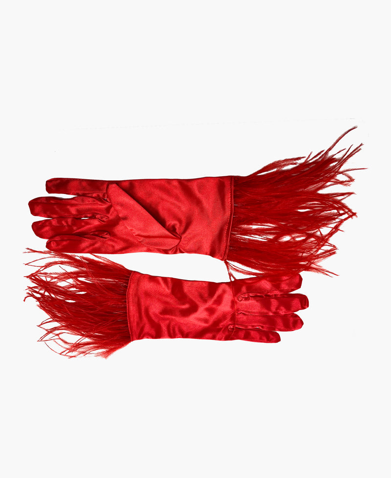 Ostrich Feather Red Satin Gloves