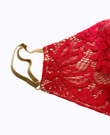 Adjustable Small Red Floral Lace Mask