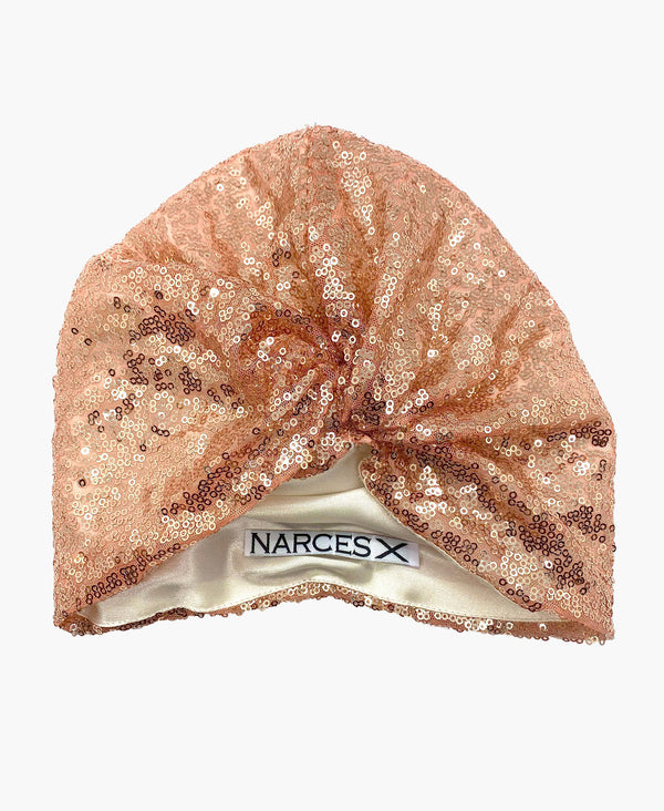 Rose Gold Sequin Silk Knot Turban Hat