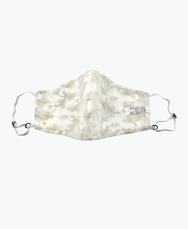 Adjustable White Lace Encased Super Lightweight Organza Mask