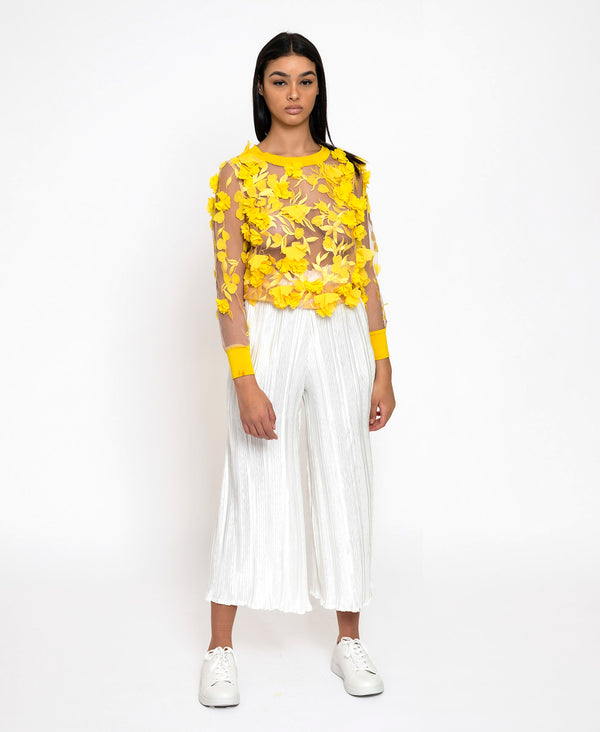 Yellow 3D Flower Top